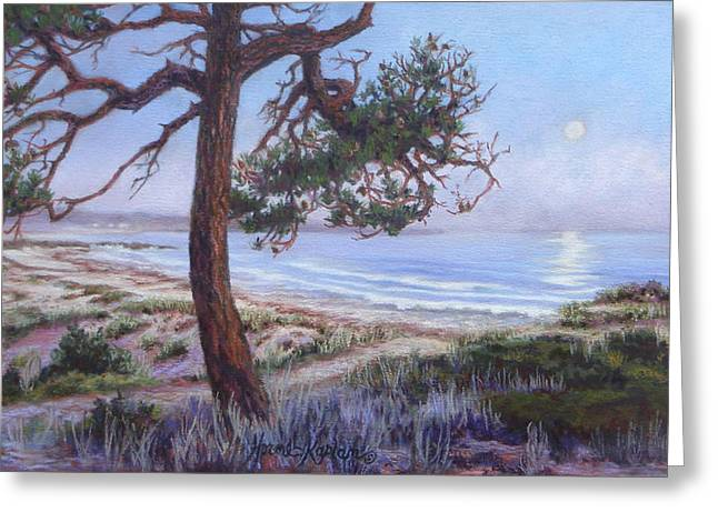 Full Moon Over Pebble Beach Greeting Card