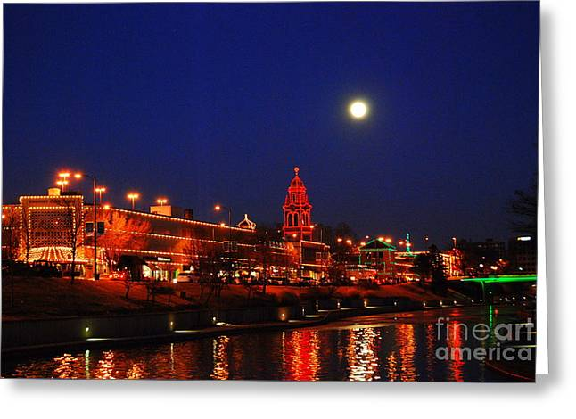 Full Moon Over Plaza Lights In Kansas City Greeting Card