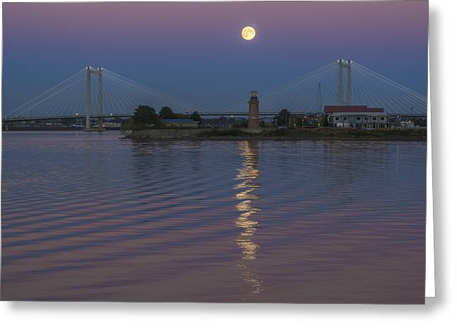 Full Moon Over The Cable Bridge Greeting Card