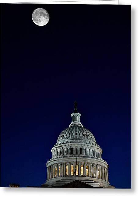 Full Moon Over Us Capitol Greeting Card