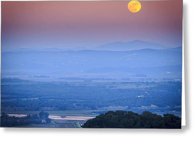 Full Moon Over Vejer Cadiz Spain Greeting Card