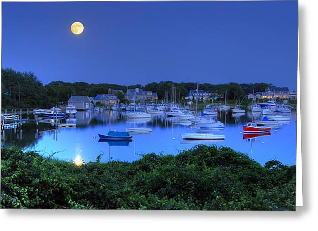 Full Moon Over Wychmere Harbor Greeting Card by Ken Stampfer