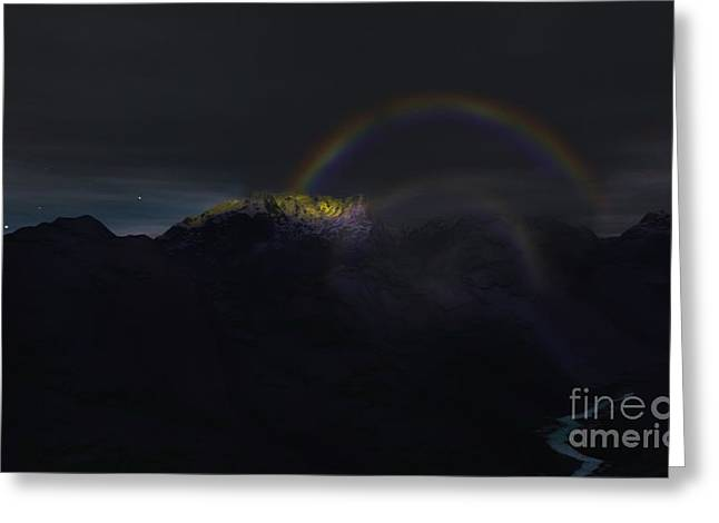 Greeting Card featuring the painting Full Moon Rainbow by Pet Serrano