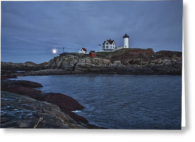 Full Moon Rise Over Nubble Greeting Card by Jeff Folger