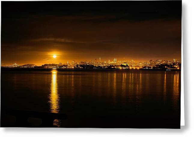 Full Moon Rising Over San Francisco Greeting Card by Steven Reed