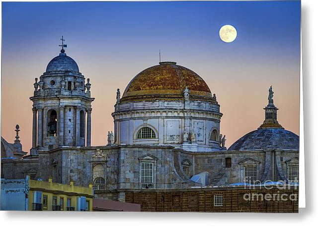 Full Moon Rising Over The Cathedral Cadiz Spain Greeting Card