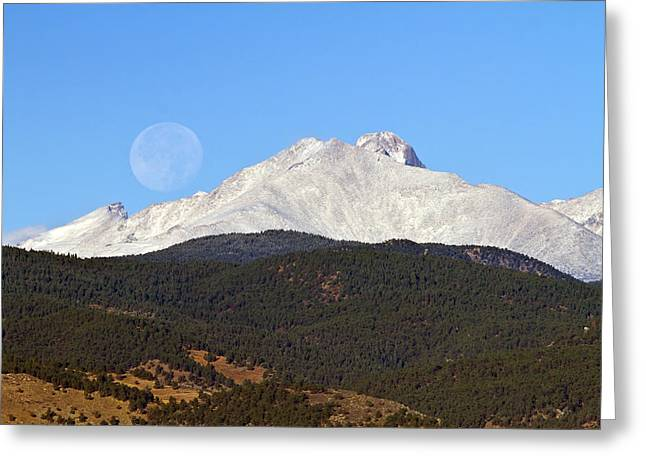 Full Moon Setting Over Snow Covered Twin Peaks  Greeting Card
