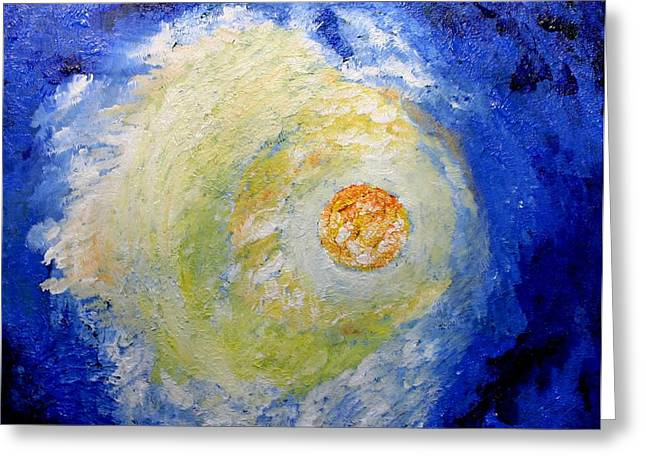 Greeting Card featuring the painting Full Moon by Susanne Baumann