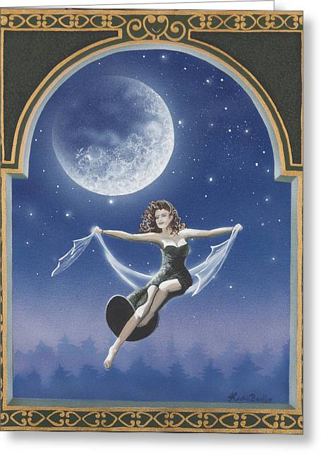 Full Moon Swing Greeting Card by Nickie Bradley
