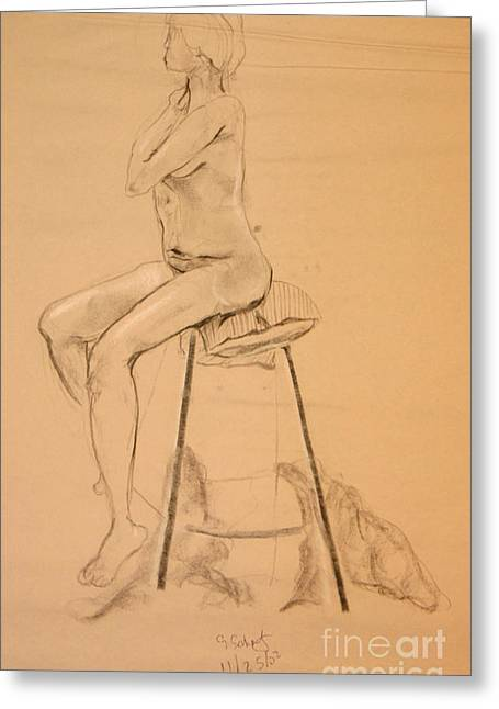 Full Nude Profile Greeting Card by Gabrielle Schertz