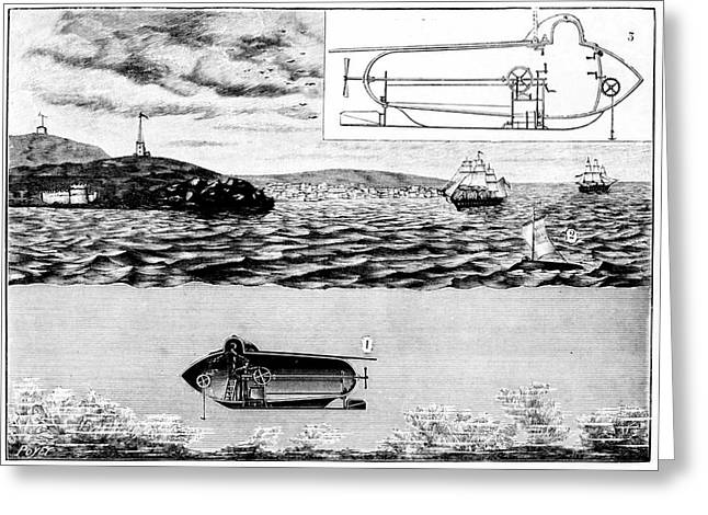 Fulton's Nautilus Submarine Greeting Card by Universal History Archive/uig