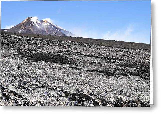 Fumarole And Snow Field On Mount Etna Greeting Card by Sami Sarkis