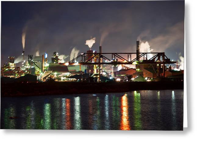 Fumes From Steel Mill In Hamilton Harbour Greeting Card