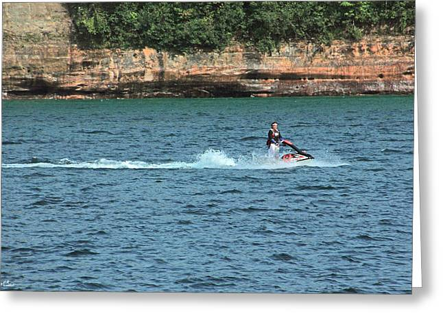 Fun At Pictured Rocks Greeting Card by Bill Woodstock