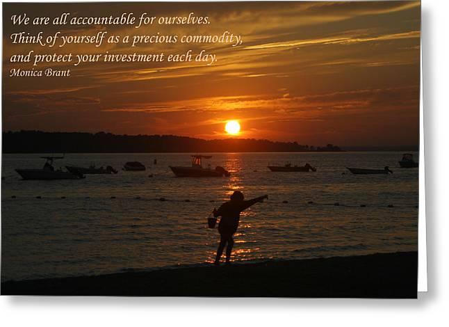Fun At Sunset/ Inspirational Greeting Card by Karen Silvestri