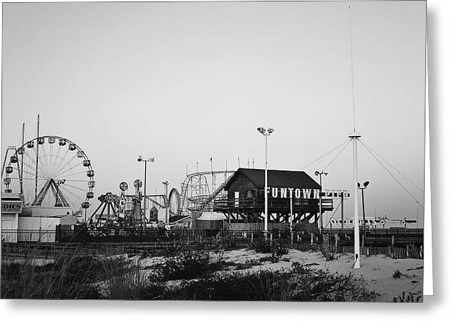 Fun At The Shore Seaside Park Nj Black And White Greeting Card by Terry DeLuco