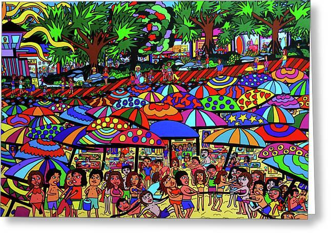 Fun Beach Greeting Card by Karen Elzinga