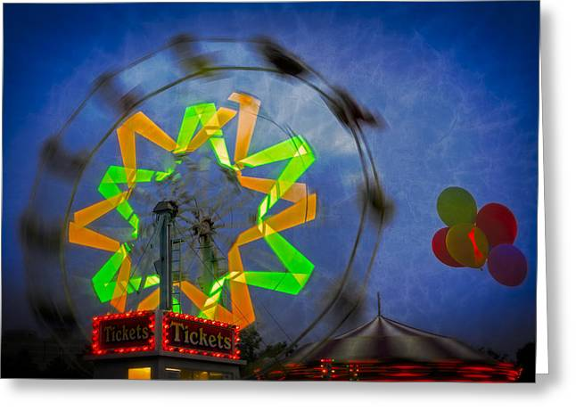 Fun Evening At The Carnival Greeting Card by Susan Candelario