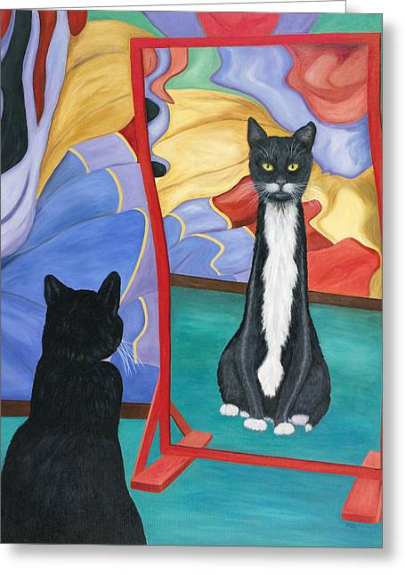 Fun House Skinny Cat Greeting Card