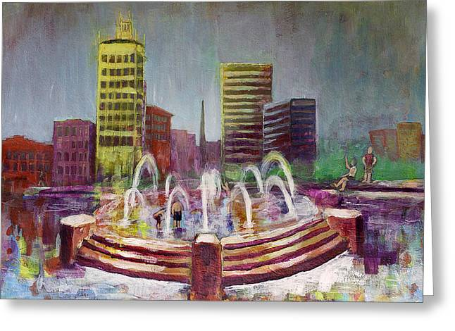 Fun In The Fountain In Asheville Greeting Card by Gray  Artus