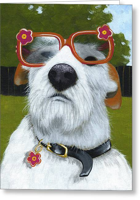 Fun In The Sun ... Dog With Glasses Painting Greeting Card by Amy Giacomelli