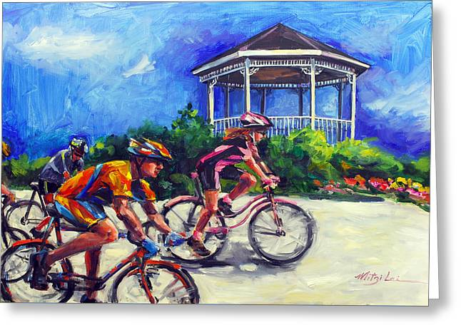 Fun Time In Bicycling Greeting Card by Mitzi Lai