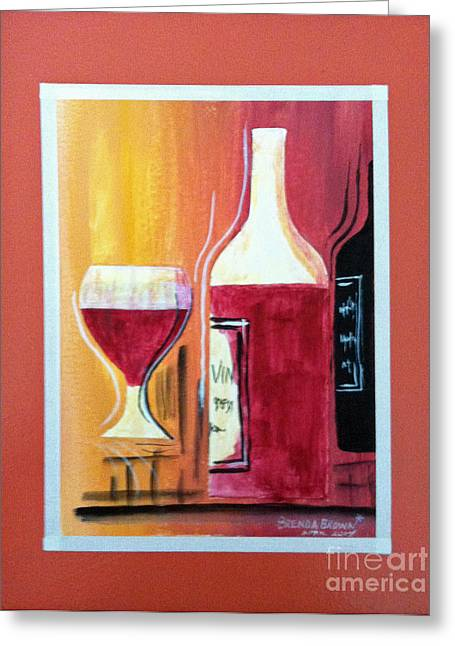 Fun Wine Time Greeting Card by Brenda Brown