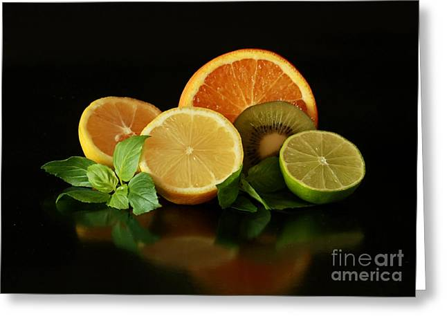 Fun With Citrus And Kiwi Fruit Greeting Card by Inspired Nature Photography Fine Art Photography