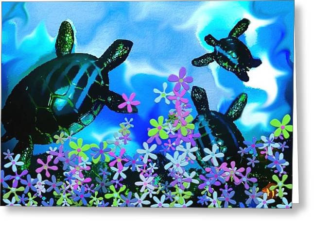 Fun With Sea Turtles Greeting Card by Lady Ex