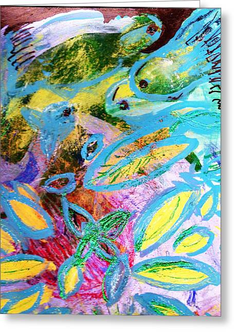 Fun With The Fishes Greeting Card by Anne-Elizabeth Whiteway
