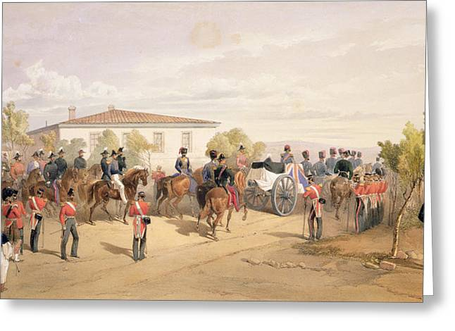 Funeral Cortege Of Lord Raglan Leaving Greeting Card by William 'Crimea' Simpson