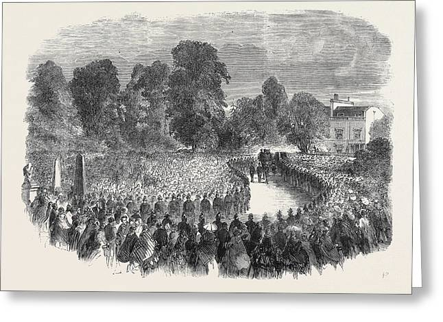Funeral Of Mr Braidwood The Late Chief Of The London Fire Greeting Card by English School