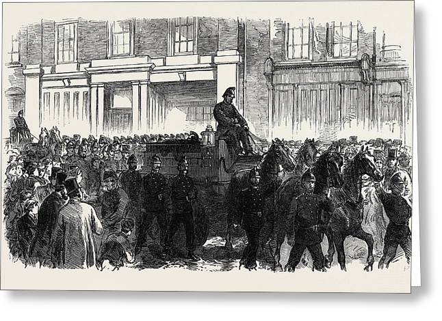 Funeral Of One Of The Metropolitan Fire Brigade Uk 1866 Greeting Card by English School
