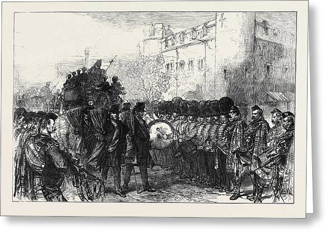 Funeral Of Sir John Burgoyne At The Tower The Procession Greeting Card