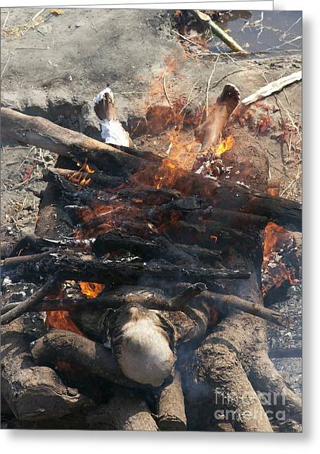 Funeral Pyre In India Greeting Card by Tony Camacho