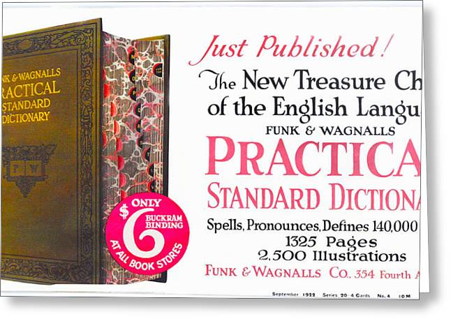 Funk And Wagnalls Dictionary Greeting Card by Woodson Savage