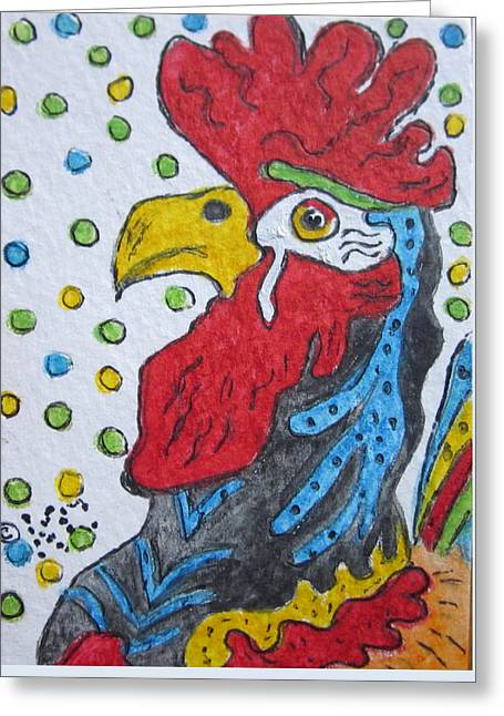 Funky Cartoon Rooster Greeting Card