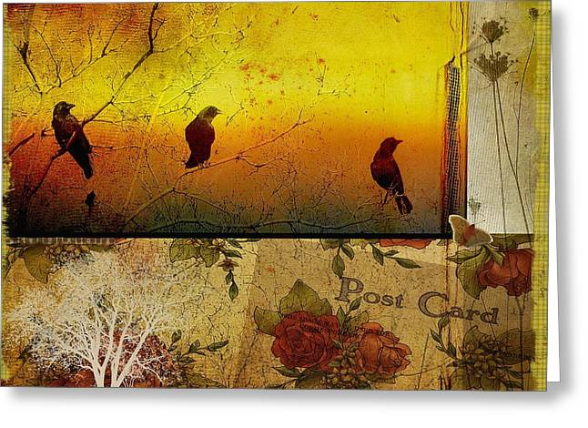 Funky Crows Collage Greeting Card