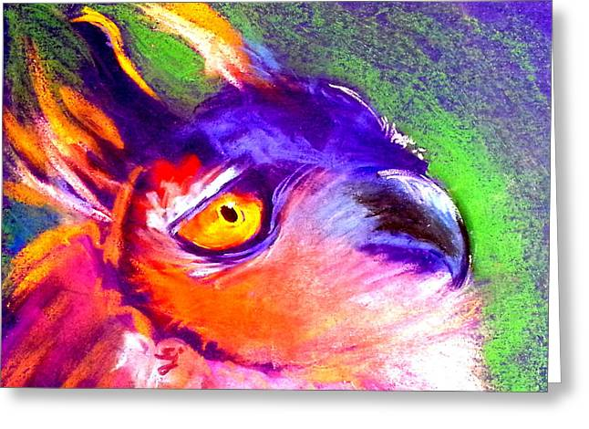 Funky European Eagle Owl Art Print Greeting Card by Sue Jacobi