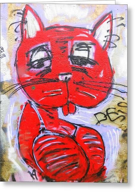 Funky Feline Greeting Card by Ramona Johnston