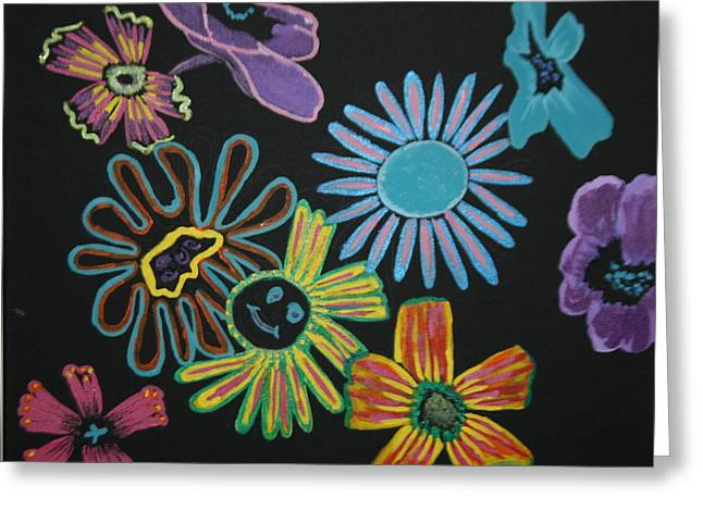 Funky Flowers Greeting Card by Betty-Anne McDonald