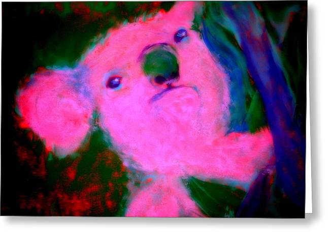 Funky Koala Bear In Pink Greeting Card by Sue Jacobi