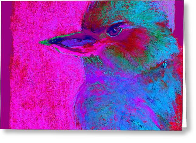Funky Kookaburra Australian Bird Art Prints Greeting Card