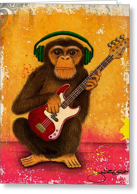 Funky Monkey Greeting Card by Julie Oakes