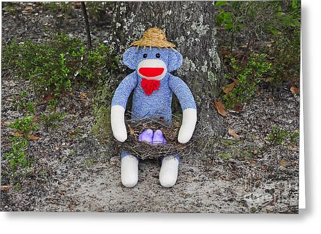 Funky Monkey - Purple Peeps Greeting Card