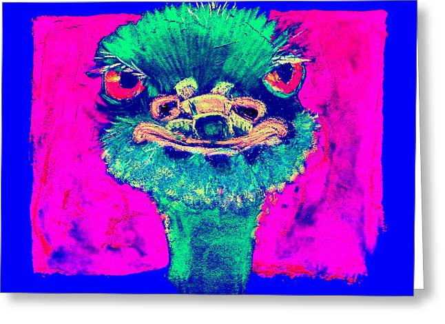 Funky Ostrich Cool Dude Art Prints Greeting Card
