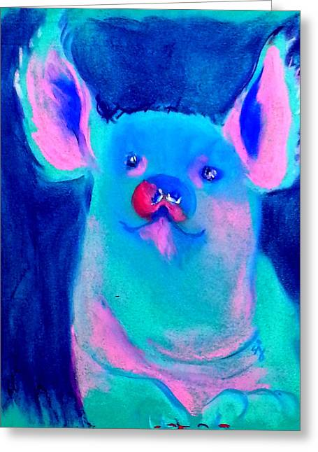 Funky Piggy Blue Greeting Card
