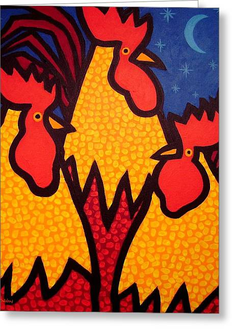 Funky Roosters Greeting Card by John  Nolan