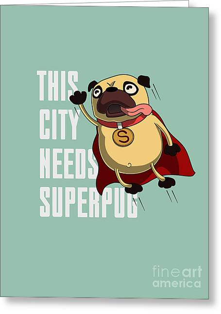 Funny Cartoon Character Pug Design For Greeting Card