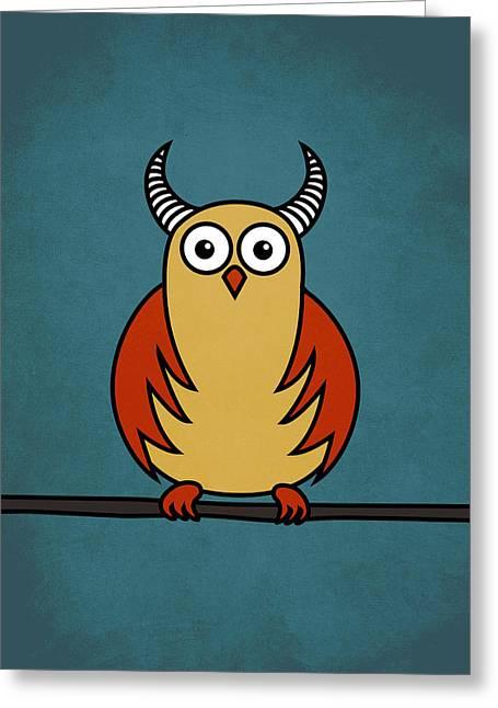 Funny Cartoon Horned Owl  Greeting Card by Boriana Giormova